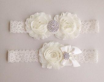 Ivory Lace Garter Set - Vintage Ivory Bridal Garter with Toss Garter