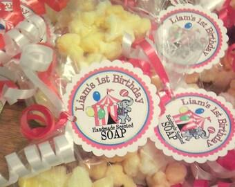 Circus Birthday Party Favors - Popcorn SOAP - customized tags - Circus - Movie - Pajama - Carnival