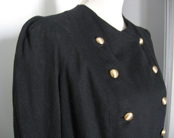 Vintage Black Wool Double Breasted Jacket with Brushed Gold Buttons