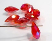 10 Beads....Holiday Special Bright Red AB Glass Faceted Briolette Beads.....12x6mm....BB