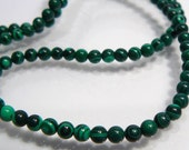 CLOSE OUT SALE: 195 Synthetic Malachite Smooth Round Gemstone Spacer Beads...3mm