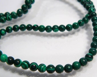 24 Beads....Synthetic Malachite Smooth Round Gemstone Spacer Beads...3mm...BB