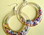 Resin Hoop Earrings, Resin Jewelry, Rainbow, Hoop Earrings, Resin Earrings, Sprinkle Earrings, Retro Earrings
