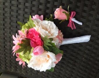 Ready to Ship Bridal  Bride Beach Destination Wedding Day Bouquet matching Groom Boutonniere set Pinks Peach Hot Pink roses silk flowers