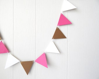 Triangle Flag Bunting Garland / Bunting Gold Hot Pink White 10 ft
