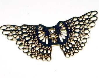 brass WINGS set of two filigree angel butterfly supplies doll or jewelry parts 53 mm 2 1/8 inch