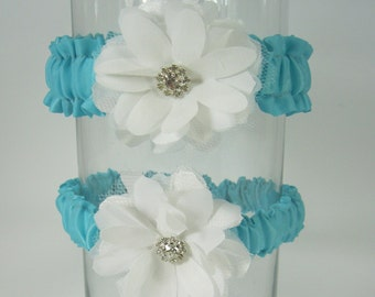 Garter set in Aqua Blue and Ivory, Daisy, Wedding Garter Set F164, bridal garter accessory