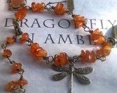 Reserved for Sherry - Outlander Bracelet - Dragonfly in Amber Bracelet -  Amber Bracelet - Diana Gabaldon Inspired - Outlander Jewelry