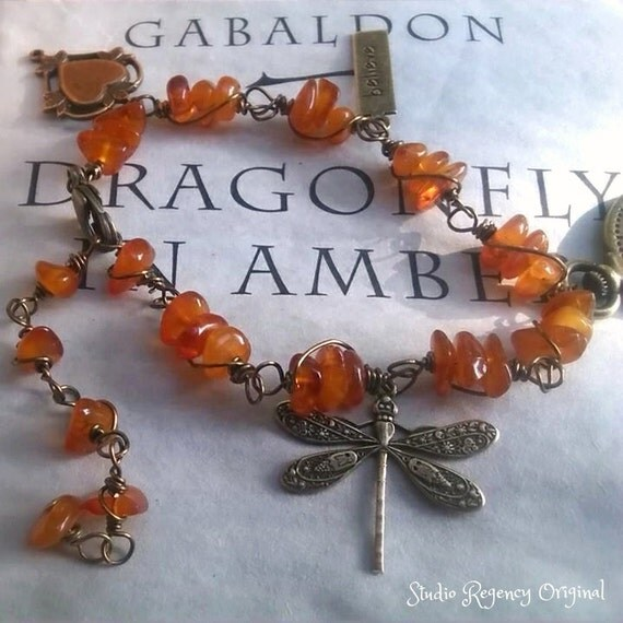 Reserved for Sherry - Outlander Bracelet - Dragonfly in Amber Bracelet -  Amber Bracelet - Diana Gabaldon Inspired - Outlander Jewelry