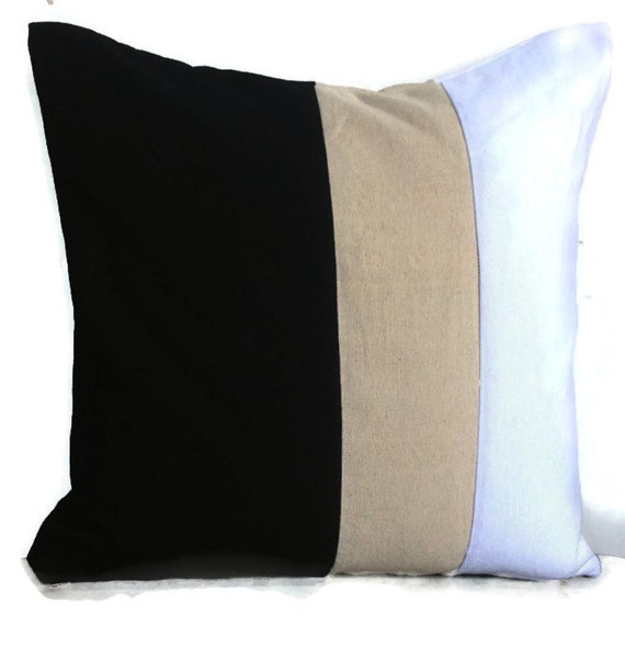 White Cream Throw Pillows : Color block Black cream and white 16 inches Throw by Snazzyliving