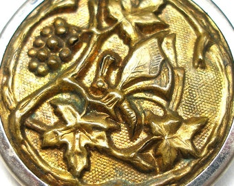 XL 1800s BUTTERFLY BUTTON, Victorian insect among grape vines.