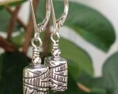Rectangular Urn Sterling Silver Dangle Earrings, Artisan Handmade Sterling Silver Printed Oxidized Drop Earrings