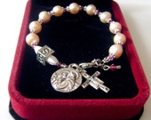 REAL pearl & pink crysal religion gift bracelet rosary cross PERSONALISED NAME