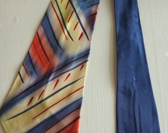 Vintage 30s/40s Men's Hand-painted Silk Necktie...Cravat