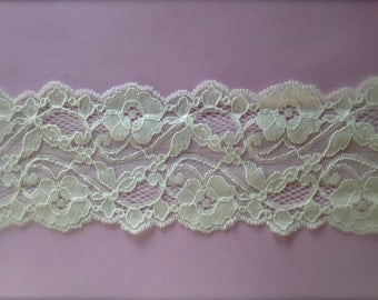 New-WIDE Stretch Lace  IVORY no.123S -3 inch -2 yards for 3.99