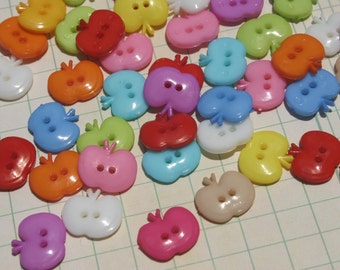 """Apple Buttons - Bright Colors Apples Button - 5/8"""" Wide - 16mm - 36 Assorted Buttons - LAST OF STOCK"""