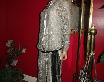 Opera Flapper Jacket  Lace  does 20-30s Theme T Ford  style Theater  Evening Size 14