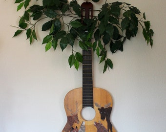 The Wood Remembers - environmental themed altered guitar - painted with poem and tree branches