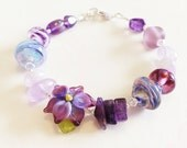 Purple Blooms Bracelet Lampwork Sterling Silver Bracelet by keiara SRA