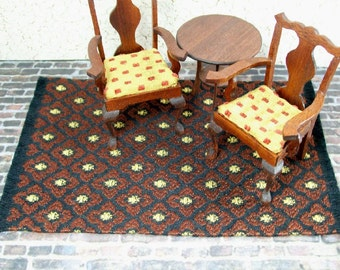 Black Gold Rug Carpet Brown 1:12 Dollhouse Miniatures Scale Artisan