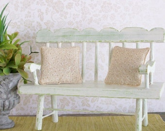 Beige Pillows Shabby Chic Pair 1:12 Dollhouse Miniatures Scale Artisan
