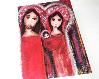 Christmas Day - Greeting Card 5 x 7 inches - Folk Art By FLOR LARIOS