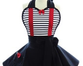 Retro Apron - Tweedle Dee Dum Womans Aprons - Vintage Apron Style - Wonderland Pin up Alice Rockabilly Cosplay