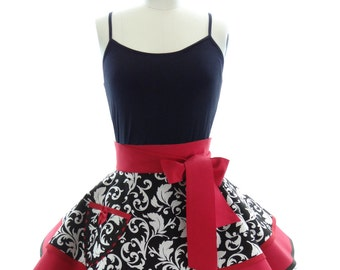 Retro Half Apron - Red Parisian Womans Half Apron - Vintage Apron Style - Damask Pin up Rockabilly Cosplay Costume