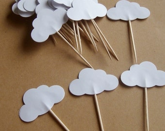 20 White cloud party picks, cloud cupcake picks, toppers, party decorations, birthday, cloud decorations, toothpicks
