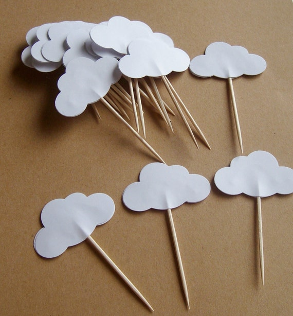 20 white cloud party picks cloud cupcake picks by paperbloomsetc. Black Bedroom Furniture Sets. Home Design Ideas