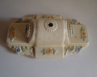 Antique 1930s Porcelier Double Socket  Ceiling Light