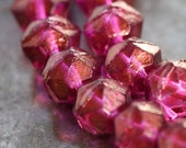 last ones .. RASPBERRY ICE 10mm .. Picasso Czech Glass Faceted Beads (3774-11)