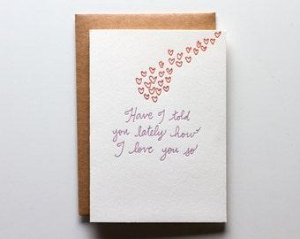 I Love You So - Letterpress Love Card - CL157
