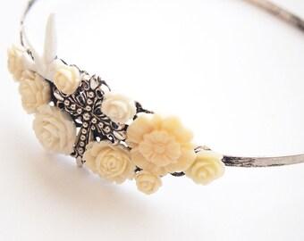 Antiqued Cross Cluster Headband -  Dark Gothic Religious