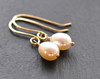 Simple Pearl Earrings - White Freshwater Pearls on Handmade Gold filled Earwires