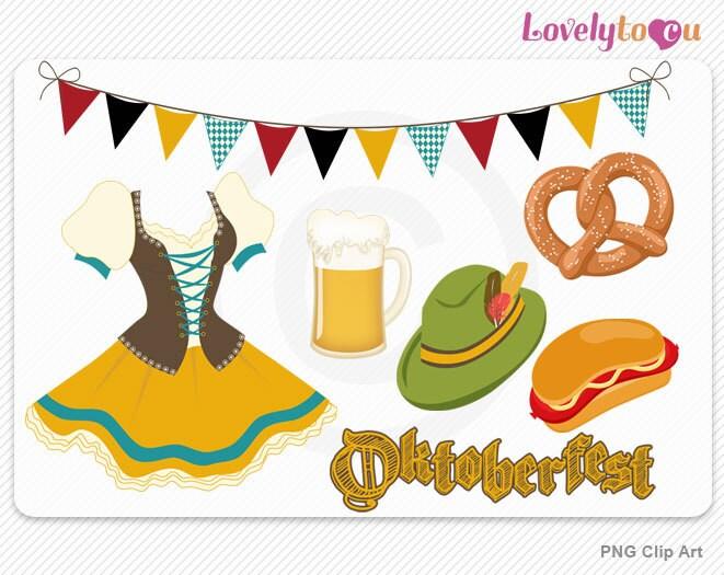 Oktoberfest clipart beer pretzel frankfurter dress by ...