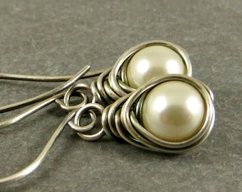 Pearl Earrings, Wire Wrapped Jewelry, Gifts for Her
