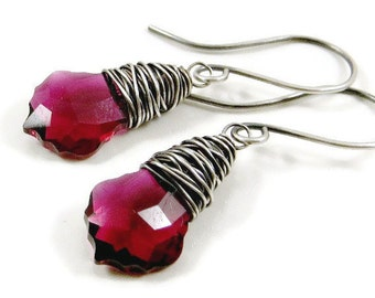 Swarovski Crystal Dangle Earrings  Ruby Wrapped in Fine Silver Holiday Jewelry Gifts for Her