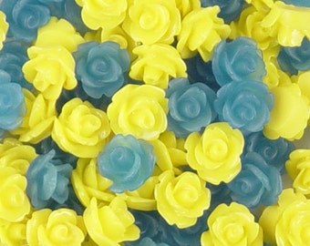CLEARANCE Cabochon Flower 30 Resin Round PAIRS Rose Flower 10mm OVERSTOCK Sale Yellow Blue (1017cab10-55)os