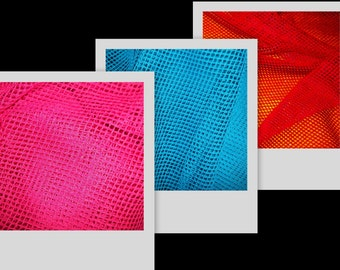 Bright Pink, Blue, Candy Apple Red Quality Nylon Fishnet Fabric BTY