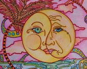 Happy face, Sad face,  Moody Little Man in the Moon, Singleton Hippie Art Orginal, Full Moon Yin and Yang Moods
