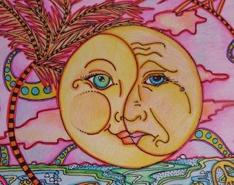 Happy face, Sad face,  Moody Little Man in the Moon, Singleton Hippie Art Orginal, Full Moon Yin and Yang Moods