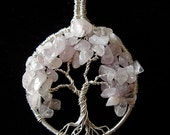 Unconditional love- silver Tree of Life with Rose quartz - Use coupon for discount