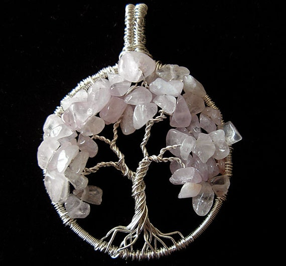 Tree of Life with Rose quartz- Unconditional love- Rose Quartz tree of life- sterling silver tree of life-handmade