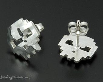 8-bit Skull Earrings in Sterling Silver
