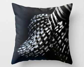 "Photo pillow, ""Red Lionfish Fins"" Decorative Throw Pillow cover, Cushion, Various Sizes, indoor, dorm, office, fish, neutical, nature,noir"