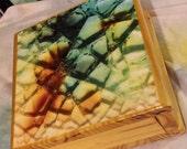 Handmade blue cracked glass Wooden Jewelry Stash Box