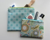 Set of 2 Flat ZIPPER BAGS Blue Dots, Blue, Green and Yellow Paisley, Zipper Pouches, Make up Bags, Travel Bags