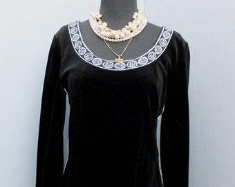 Vintage 1970s R & K Knits Black Velour Boho Style Maxi Dress, Maxi Dress, Long Dress Hippie or Boho