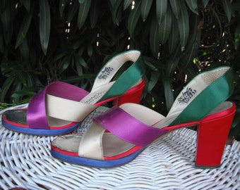 1970s Chunky Platform Heels for I. Magnin, Summer Heels or Sandals, MULTICOLORED CHUNKY Sandals, Purple, Silver and Red Slingbacks, size 8